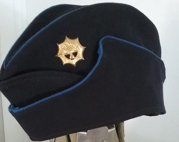 Vintage Military Black Wedge Cap