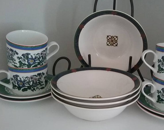 Mixed Morning Tea Set, Mismatched Morning Coffee Set, Combined China Sets, Mismatched Coffee or Tea Sets, Bowls with Cups and Saucers