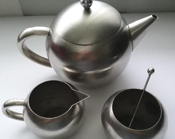 Vintage Aluminum Teapot Set, Mid Century Kitchen Decor