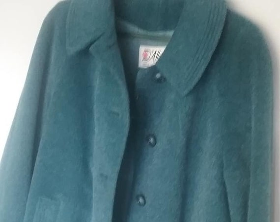 1960's Women's Wool Coat, Extra Large, D'Alliard's Blue