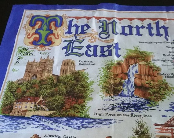 Vintage British Souvenir Dish Towel, Retro Fabric Poster