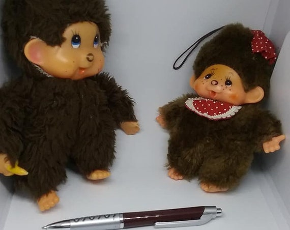 Vintage 70's Monchhichi and Kiki Monkey Plush Toys