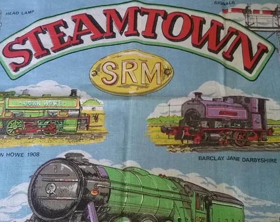 Vintage Steam Engine Dish Towel, Fabric Poster,