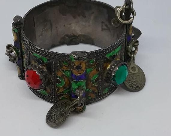 Antique Silver Berber Cuff Bracelet
