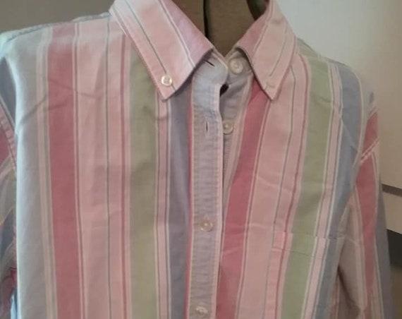 Men's Vintage Sports Shirt, Men's LL Bean Casual Shirt, Vintage Pastel L L Bean Striped Shirt, Men's Casual Long Sleeve Buttoned Shirt