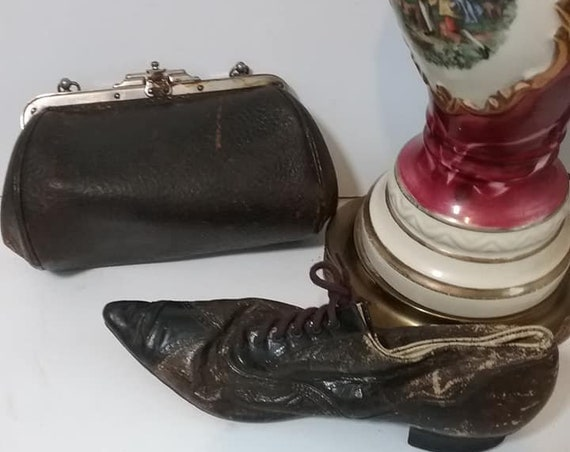 Black Antique Edwardian Leather Shoes and Matching Purse