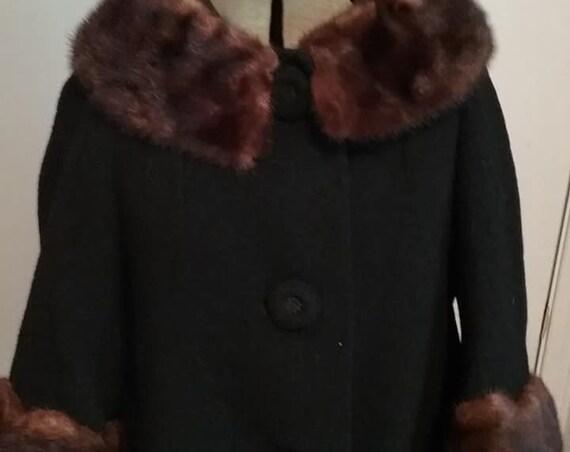 Vintage Women's Wool and Fur Coat, Vintage Persian Wool Swing Coat, Black Persian Wool with Mink Collar and Cuffs Swing Coat, 60's Wool Coat