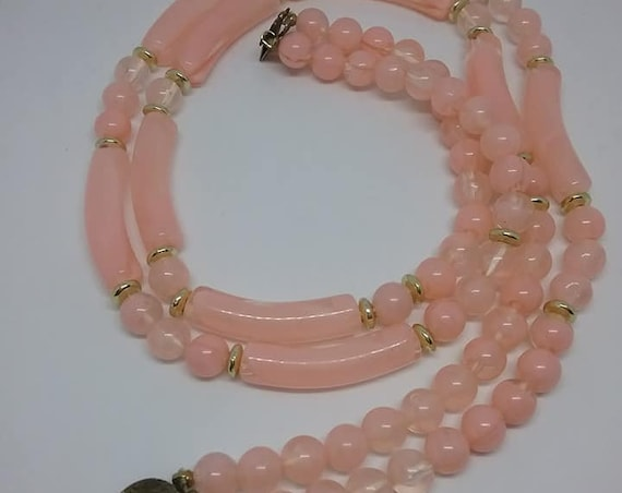 Vintage Pink Moonglow Beads, Vintage Pink Moonglow Double Strand Necklace, Moonglow Two Strand Beaded Necklace, Light Pink Moonglow Beads