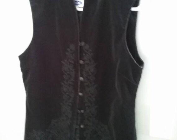 Vintage Women's Black Velour Vest, Goth, Steampunk