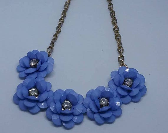 Vintage Flower Blue Acrylic Bead and Rhinestone Choker,