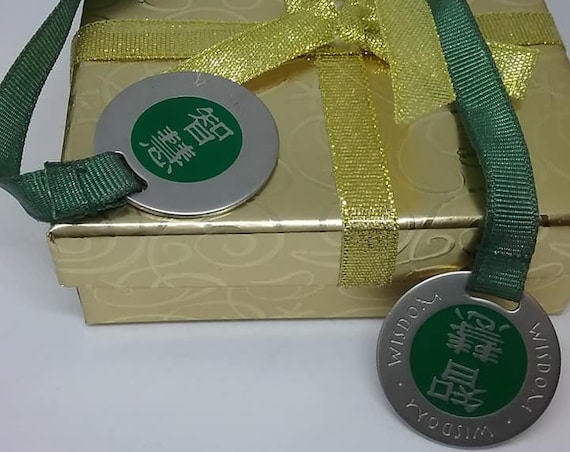 Vintage Sacchi Zen Book Mark, Wisdom, Metal Medallions,