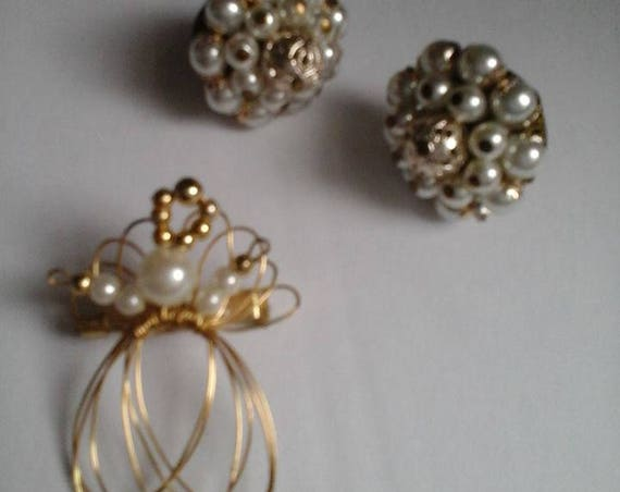 Vintage Pearl Angel Brooch and Earring Set