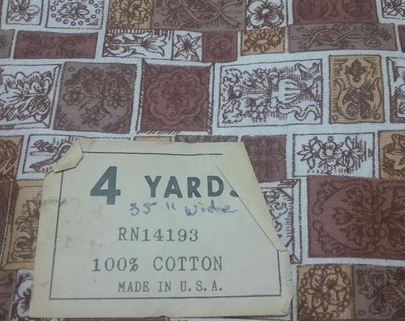 60s/70s Fabric, Brown and Taupe, 4 Yards