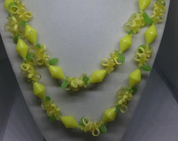 Vintage Plastic Fruit Salad Necklace, Double Strand