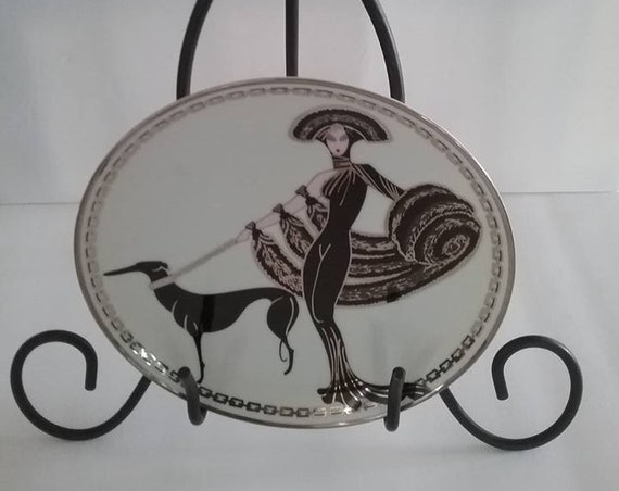 Franklin Mint House of Erte Series, Limited Edition plate, Symphony in Black