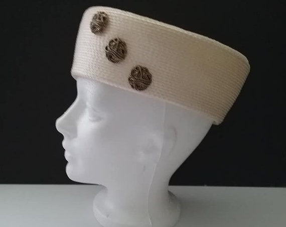 Vintage White Pillbox Hat