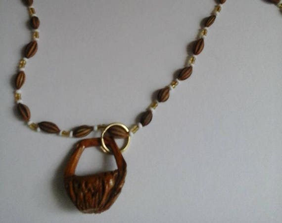 Natural Seed Necklace, Vegan Necklace, All Natural Necklace, Unisex Necklace, Wrap Necklace, Seed Bead Necklace, Carved Pendant