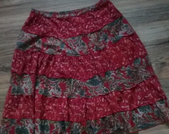 Women's Vintage Boho Skirt,  Ruffled Midi Skirt,