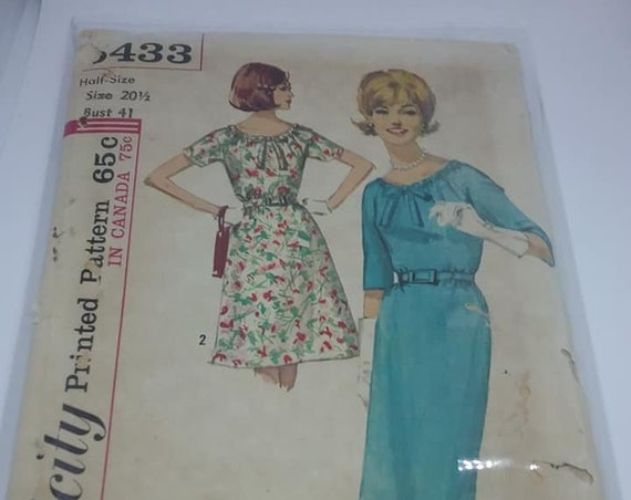 1960s  Half Size Dress and Skirt Pattern, Simplicity Original