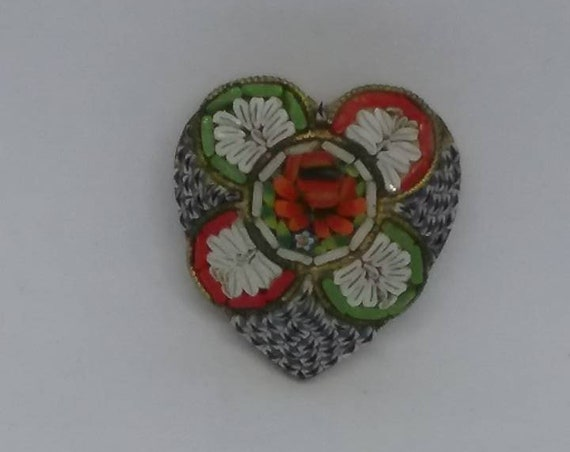 Victorian Micro Mosaic Brooch, Italy Stamp