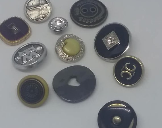 Vintage Sewing Buttons, Mixed Metal and Design Buttons, unique Buttons for Crafting or Sewing, Sewing Notions of 11 Buttons
