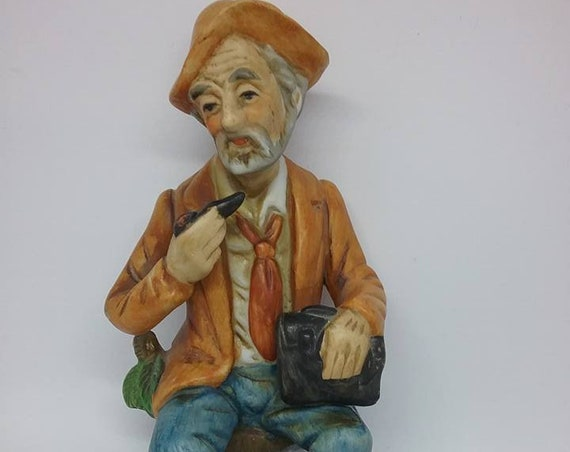 Vintage Old Man Royal Crown Figurine, Smoking Pipe