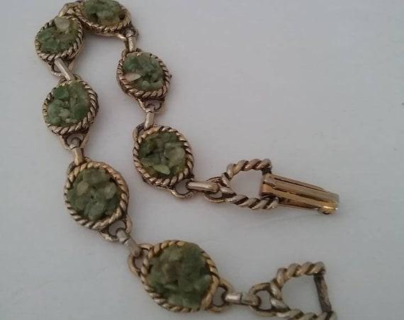 Vintage Jade Bracelet, Chip Stone