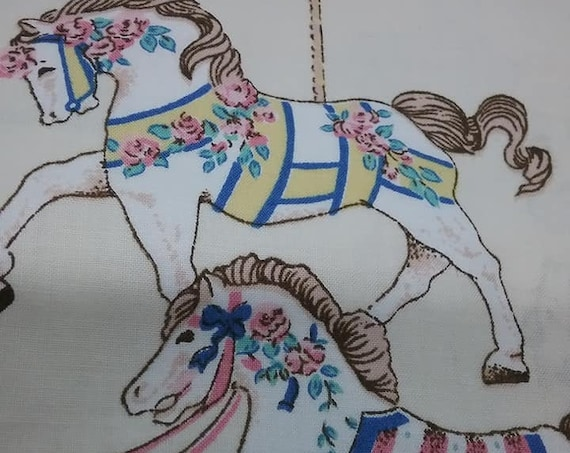 Vintage Design Cotton Child's Material, Merry-go-round, 3 Yards Fabric,