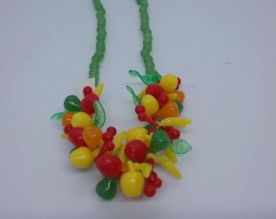 Mid-century Mod Fruit Salad Necklace, Plastic, Faux Jade Beads