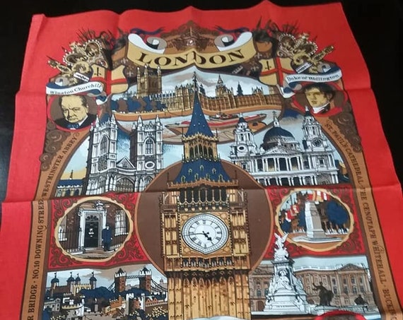 Tea Towel of London England, Historical Sites and People