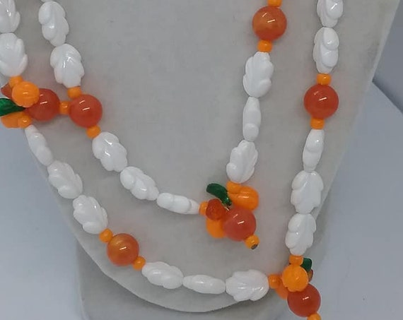 Lucite Fruit Salad Necklace, White, Orange, Red and Green