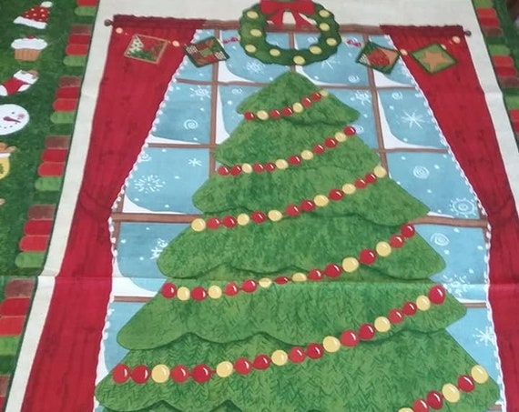Christmas Tree Material, Christmas Fabric, Advent Christmas Tree Sewing Panel,