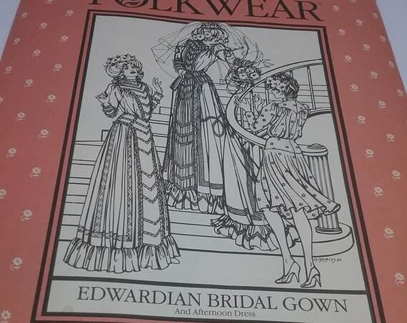 Bridal Wedding Gown Pattern, Edwardian Style, Folk Wear