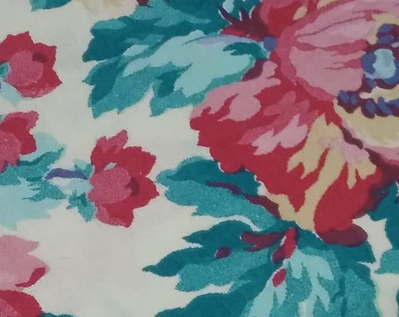 Vintage Floral Cotton Fabric, Pink and Blue Floral, 3 Yards