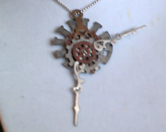 Steampunk Necklace, Gears in Time, Up-cycled Watch Parts