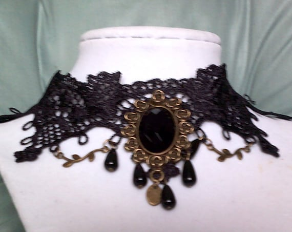 Goth Black Lace Choker, Victorian Steampunk Cosplay