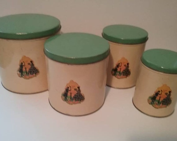 Vintage Tin Canister Set, Retro Green and Gold 20/30's