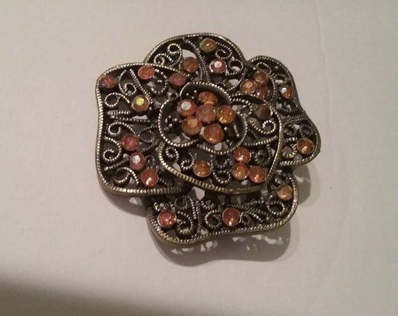 Vintage Filigree with Rhinestone Brooch, Dark Pewter Color