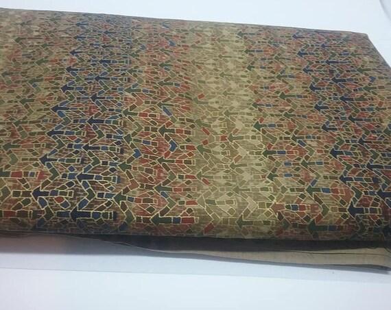 Cotton Material. 2.5 Yards, Gold Sheen Fabric, Mosaic Arrow Print