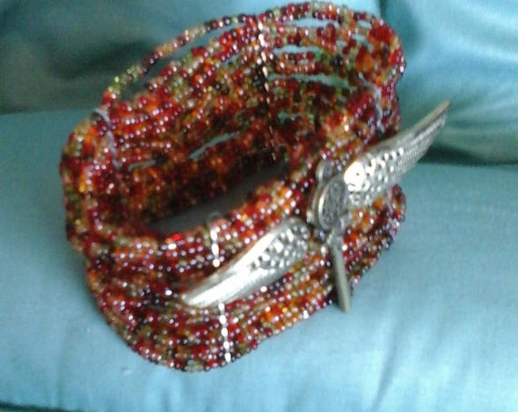 Steampunk Beaded Stretch Cuff, Silver Plated Wings