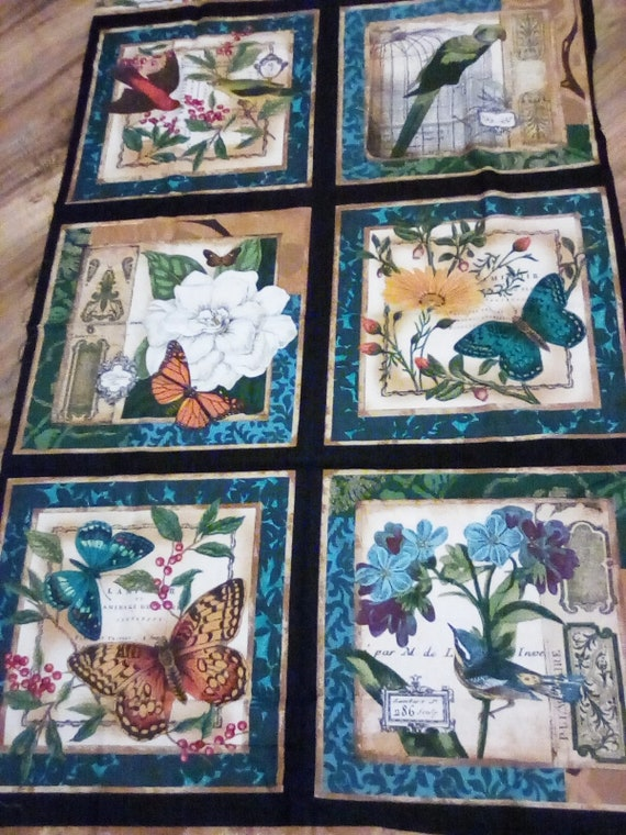Birds and Butterflies Quilting Panel, Blue Fabric Panel of Birds and Butterflies, Sewing Panel