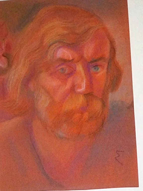 Vintage Pastel Russian Portrait, Russian Man in Pastel Signed Painting