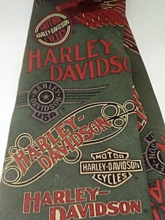 Harley Davidson Tie by Ralph Marlin, 100% Imported Silk Army Green Tie, Khaki Harley Davidson Biker Tie