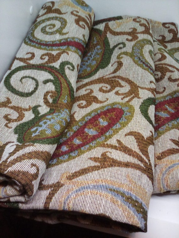 2 yards Tapestry Jacquard, Polyester Paisley Print Tapestry, Polyester Jacquard