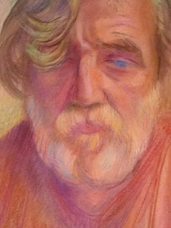 Vintage Pastel Painting Russian Man Portrait, Pastel of Man With a Beard from Russia