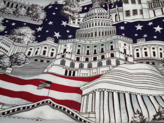 1.5 Yards VIP by Cranston Fabric, Washington City Design, Patriotic Cotton Material, Made in the U.S.A