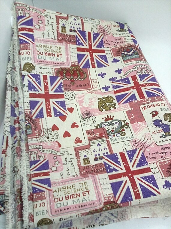Cotton Fabric with Union Jack and French signage, Travel Enthusiasts