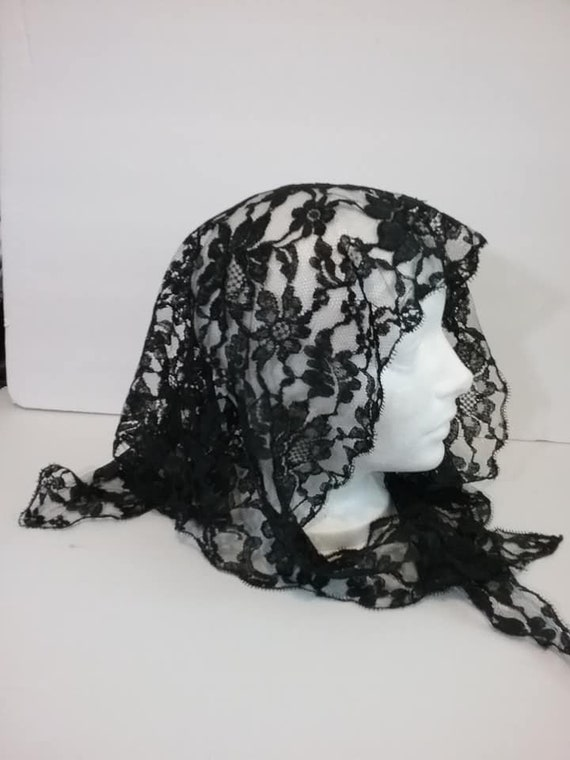 Vintage Black Lace Mourning Veil