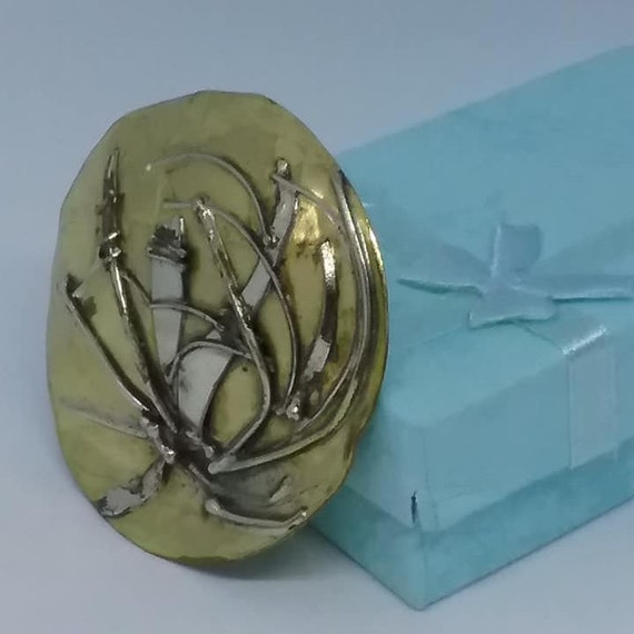 Artisan Brooch, Ruth Rosenfeld Signed, Modernist Mixed Metal