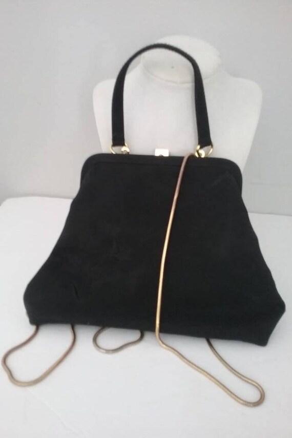 Black Vintage Purse, Liz Claiborne Evening Bag, Liz Claiborne Floral Embossed Clutch, Vintage Liz Claiborne Hand Bag or Shoulder